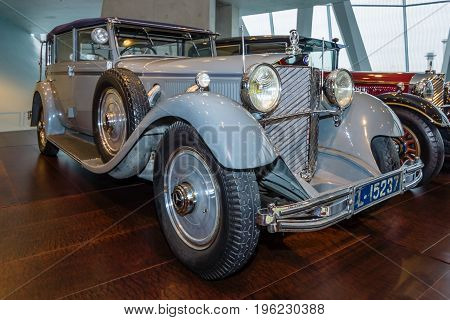 STUTTGART GERMANY- MARCH 19 2016: The car of the former German Emperor Wilhelm II Mercedes-Benz 770 Grand Mercedes convertible F 1932. Mercedes-Benz Museum.