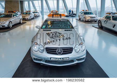 STUTTGART GERMANY- MARCH 19 2016: Official F1 Safety car Mercedes-Benz SL55 AMG 2002. Mercedes-Benz Museum.