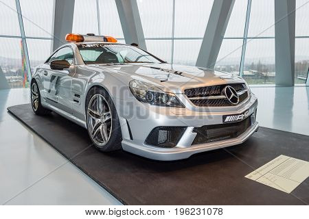 STUTTGART GERMANY- MARCH 19 2016: Official F1 Safery car Mercedes-Benz SL63 AMG 2009. Mercedes-Benz Museum.