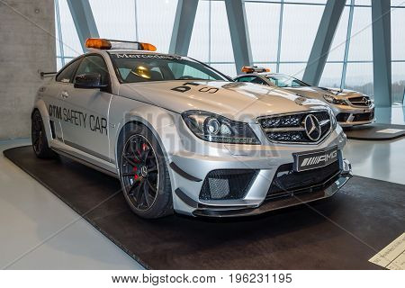 STUTTGART GERMANY- MARCH 19 2016: Official DTM Safery car Mercedes-Benz C63 AMG Coupe 2012. Mercedes-Benz Museum.