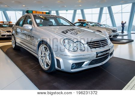 STUTTGART GERMANY- MARCH 19 2016: Official DTM Safery car Mercedes-Benz C55 AMG 2004. Mercedes-Benz Museum.