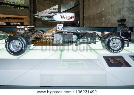 STUTTGART GERMANY- MARCH 19 2016: Formula One racing car McLaren-Mercedes MP4-14 1999. Mercedes-Benz Museum.