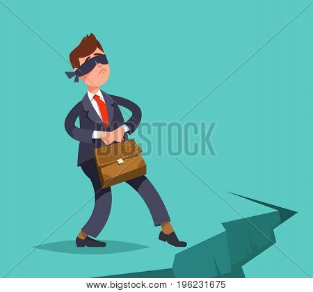 Vector illustration inexperienced weak businessman take a step blindfolded on the edge of the abyss. Business concept