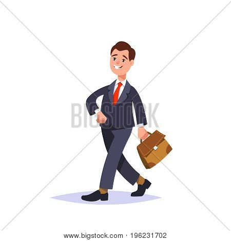 Vector flat illustration successful businessman in a business suit and briefcase isolated. Business person