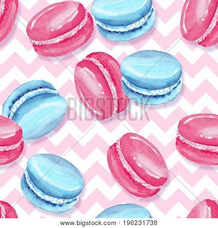 Watercolor seamless pattern. Sweet food. Macaroons 5