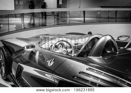STUTTGART GERMANY- MARCH 19 2016: Detail of the concept car Mercedes-Benz F400 Carving 2001. Black and white. Mercedes-Benz Museum.