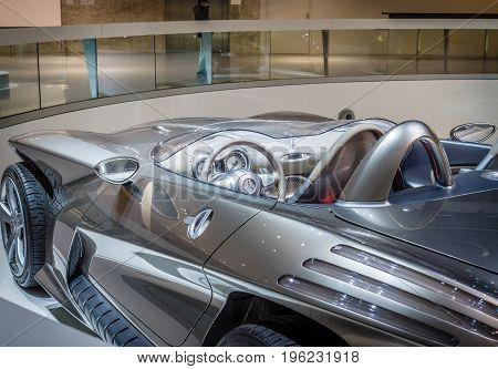 STUTTGART GERMANY- MARCH 19 2016: Detail of the concept car Mercedes-Benz F400 Carving 2001. Mercedes-Benz Museum.