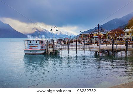 QUEENSTOWN NEW ZEALAND - SEPTEMBER 52015 : beautiful scenic of port of lake wakatipu in queenstown most important traveling destination in southland new zealand