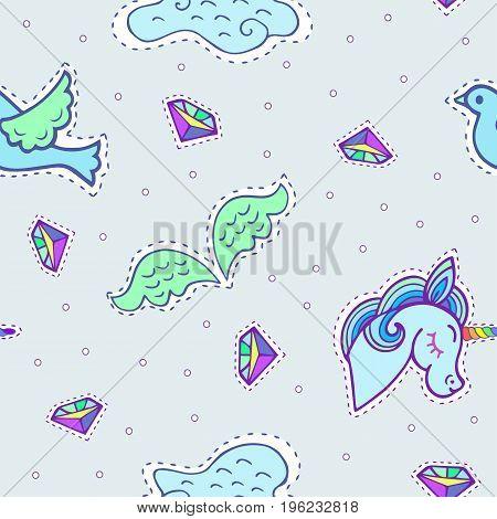 Unicorn flight. Cute seamless pattern with unicorn, wings, bird, cloud.