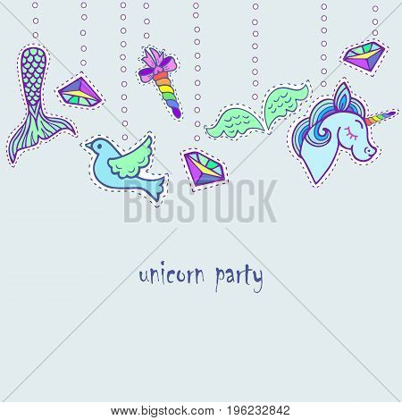 Cute template with stickers. Text copy frame template. It can be used for invitation, birthday, St. Valentine's Day, greetings, unicorn party, baby birth, good night and sweet dreams card. Vector.