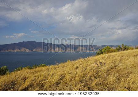 View Of Lake Sevan And Mountain Range, From Sevanavank (sevan Monastery) In The Gegharkunik Province