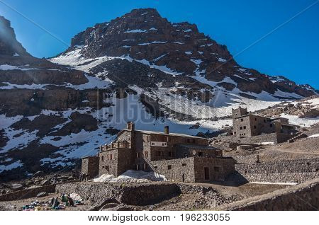 Toubkal National Park In Springtime With Mount, Cover By Snow And Ice, Refuge Toubkal, Start Point F