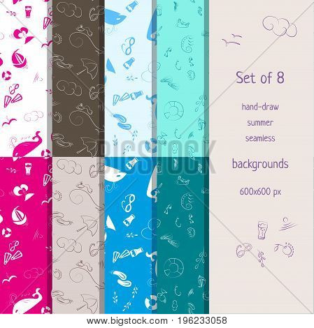 Set of eight hand-drawn seamless summer backgrounds. Vector illustration
