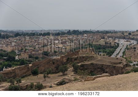Panorama Of The Fes (fez) Medina Old Town - One Of The Ancient Imperial Cities In Morocco