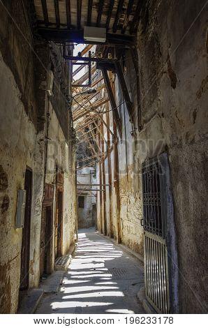A Narrow Street At The Medina Of Fez, Morocco