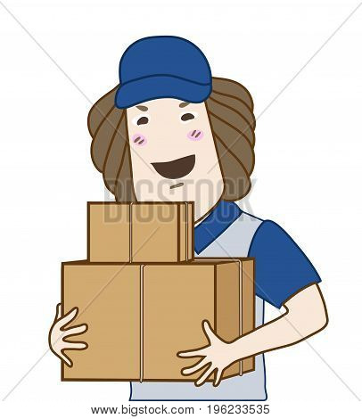 friendly face courier service man wearing uniform and holding two different size boxes