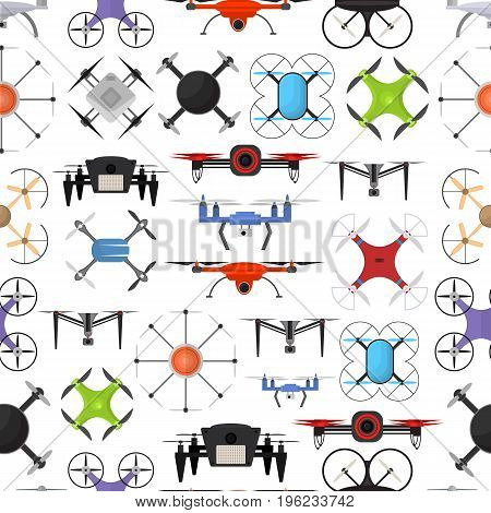 Air Drone Color Drone Background Pattern on a White Innovation Technology Control Concept Flat Design Style. Vector illustration