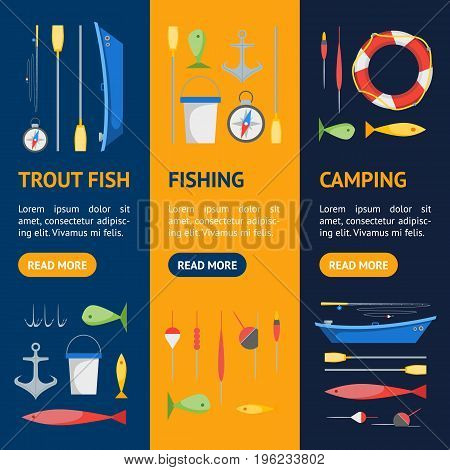 Cartoon Fishing Banner Vecrtical Set Boat and Gear Flat Design Style. Vector illustration