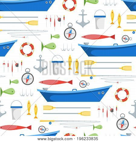 Cartoon Fishing Background Pattern on a White Background Pattern Boat and Gear Set Flat Design Style. Vector illustration