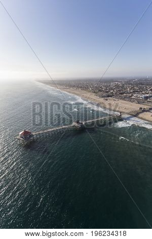 Aerial of Huntington Beach Pier near Los Angeles, California.