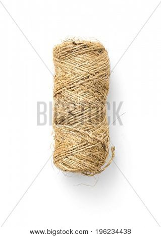 The rope is twisted in a coil on white background