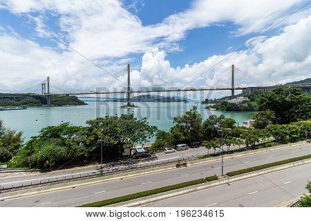 Ting Kau bridge with sunshine