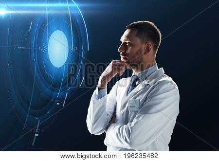 science, future technology and people concept - doctor or scientist in white coat over black background with virtual projection