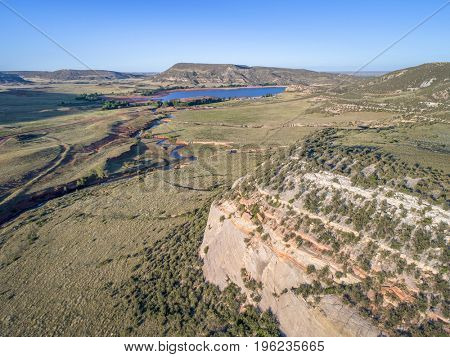 northern Colorado foothills aerial view - Park Creek and Reservoir in summer scenery