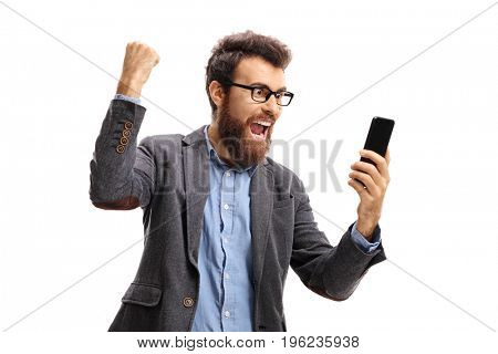 Bearded man with a phone gesturing happiness isolated on white background