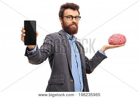 Teacher showing a phone and holding a brain model isolated on white background