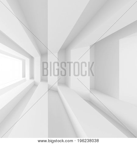 Modern Building Background. White Minimal Interior Design. Abstract Architecture Concept. 3d Rendering