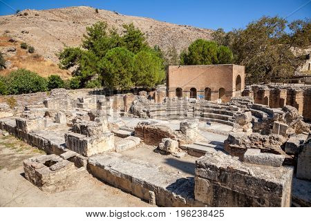 Ancient Odeon in Gortyn (Gortys,  Gortyna), Crete, Greece. Built by the Roman emperor Trajan, Gortyn houses stones with the oldest and most complete known example of an ancient Greek law code