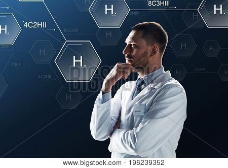 science, future technology and chemistry concept - doctor or scientist in white coat with virtual chemical formula projection over black background
