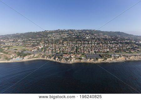 Aerial view of Rancho Palos Verdes coast near Los Angeles in Southern California.