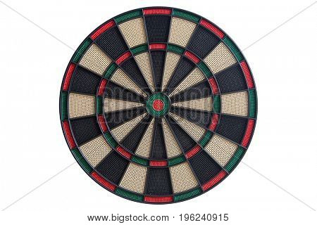 Dart board front view on white background