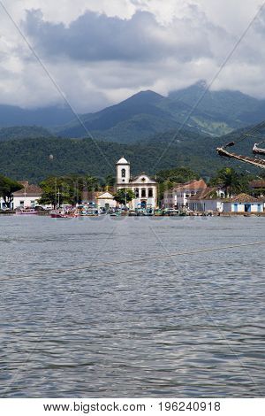 Paraty coastiline view from water - Vertical image