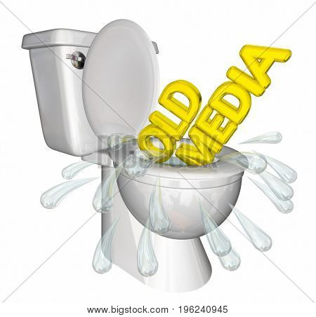 Old Media Traditional Outlets Flush Down Toilet 3d Illustration