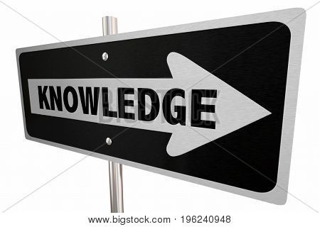 Knowledge Way Route Road Sign Learn Education 3d Illustration