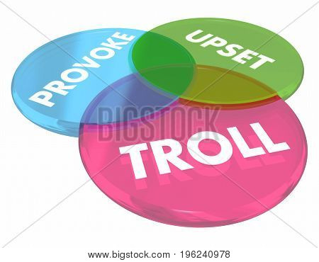Troll Provoke Upset Venn Diagram Internet Comments 3d Illustration