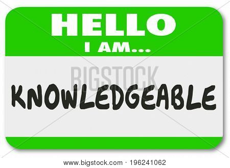 Knowledgeable Hello I Am Name Tag Sticker Illustration
