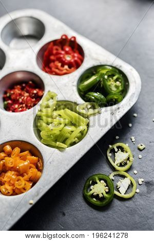 Variation chopped chili in a food tray