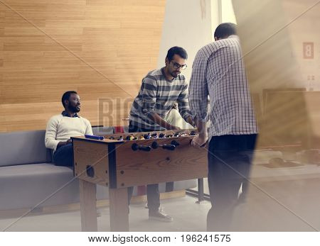 Office worker break and playing game of relax