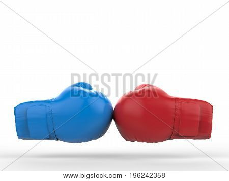 battle concept with 3d rendering blue and red boxing gloves