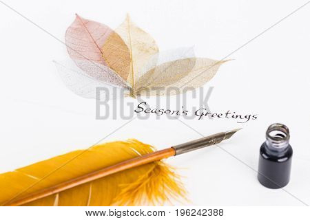 Season's Greetings message with quill pen and skeleton leaves on cotton paper