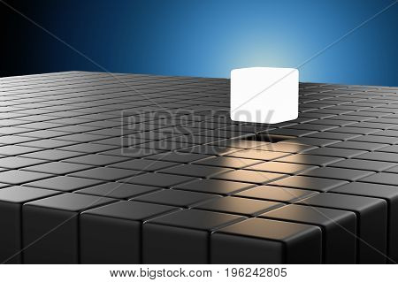 leadership concept with 3d rendering cubic pop up