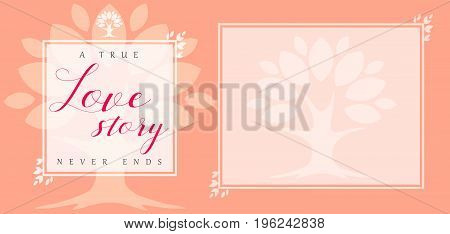 Wedding love story floral leaf frame invitation card. Floral vector frame template banner with pink leaves, romantic tree and text A true Love story never ends