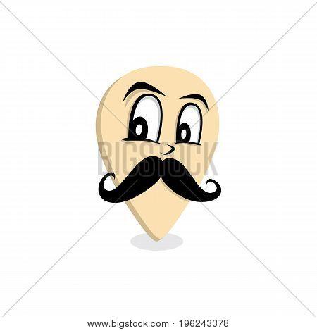 mustache gentleman map pin locator - location marker vector art