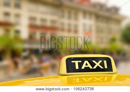 3d rendering taxi for traveling with cityscape background