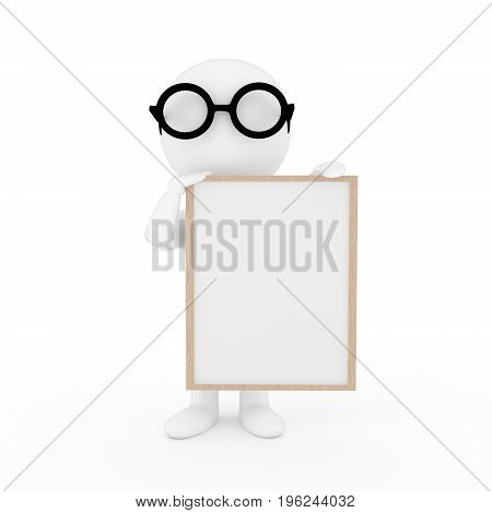 small people with photo frame on isolated white background in 3D rendering