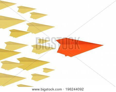 leadership concept with paper plane as a leader